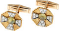 Estate Jewelry:Cufflinks, Gentleman's Cat's-Eye Chrysoberyl, Diamond, Gold Cuff Links. ...