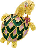 Estate Jewelry:Brooches - Pins, Diamond, Ruby, Enamel, Gold Brooch. ...