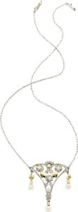 Estate Jewelry:Necklaces, Cultured Pearl, Diamond, Platinum, Gold Necklace. ...
