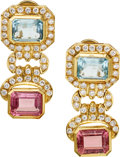 Estate Jewelry:Earrings, Diamond, Aquamarine, Tourmaline, Gold Earrings. ...