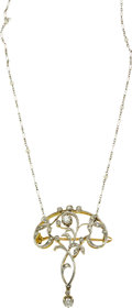 Estate Jewelry:Necklaces, Edwardian Diamond, Seed Pearl, Platinum-Topped GoldPendant-Brooch-Necklace. ...
