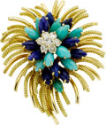 Estate Jewelry:Brooches - Pins, Diamond, Turquoise, Lapis, Gold Brooch. ...
