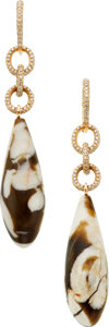 Estate Jewelry:Earrings, Diamond, Agate, Pink Gold Earrings. ...