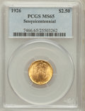 Commemorative Gold: , 1926 $2 1/2 Sesquicentennial MS65 PCGS. PCGS Population (1874/144).NGC Census: (1131/87). Mintage: 46,019. Numismedia Wsl....