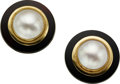 Estate Jewelry:Earrings, Mabe Pearl, Black Onyx, Gold Earrings. ...