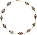 Estate Jewelry:Necklaces, South Sea Cultured Pearl, Ruby, Gold Necklace. ...