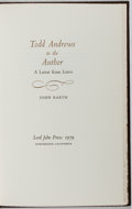 Books:Literature 1900-up, John Barth. SIGNED / LIMITED. Todd Andrews to the Author.Lord John Press, 1979. First edition. Number 43 of 50 de...