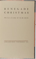 Books:Literature 1900-up, William Everson. SIGNED / LIMITED. Renegade Christmas. LordJohn Press, 1984. First edition. Letter B of twenty-si...