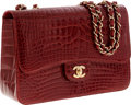 Luxury Accessories:Bags, Chanel Shiny Red Crocodile Jumbo Single Flap Bag with Gold Hardware. ...