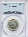 Proof Barber Quarters: , 1904 25C PR63 PCGS. PCGS Population (48/140). NGC Census: (30/180).Mintage: 670. Numismedia Wsl. Price for problem free NG...