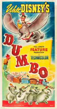 "Dumbo (RKO, 1941). Three Sheet (41"" X 79"") Style B. From the Leonard and Alice Maltin Collection"