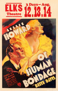 "Movie Posters:Drama, Of Human Bondage (RKO, 1934). Window Card (14"" X 22"").. ..."