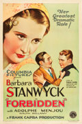 "Movie Posters:Drama, Forbidden (Columbia, 1932). One Sheet (27"" X 41"") Style B.. ..."