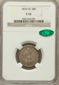 Twenty Cent Pieces: , 1875-CC 20C Fine 15 NGC. CAC. NGC Census: (36/549). PCGS Population (57/879). Mintage: 133,290. Numismedia Wsl. Price for p...