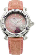 "Estate Jewelry:Watches, Chopard Lady's Stainless Steel, Diamond, Ruby ""Happy Sport"" Wristwatch, modern. ..."