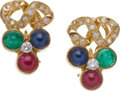 Estate Jewelry:Earrings, Multi-Stone, Diamond, Gold Earrings. ... (Total: 2 Items)