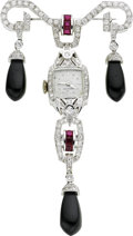Estate Jewelry:Brooches - Pins, Hamilton Diamond, Ruby, Black Onyx, White Gold Watch-Brooch. ...