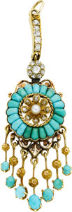 Estate Jewelry:Pendants and Lockets, Victorian Diamond, Turquoise, Cultured Pearl, Gold Pendant. ...