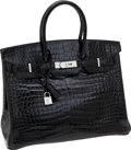 Luxury Accessories:Bags, Hermes Extraordinary Collection 35cm Diamond, Shiny Black PorosusCrocodile Birkin Bag with 18K White Gold Hardware. ...