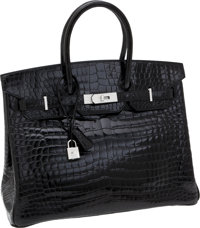 Hermes Extraordinary Collection 35cm Diamond, Shiny Black Porosus Crocodile Birkin Bag with 18K White Gold Hardware