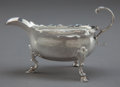Silver Holloware, British:Holloware, A GEORGE II SILVER CREAMER. Maker unidentified, London, England,circa 1757-1758. Marks: (lion passant), (leopard's head cro...