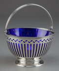 Silver & Vertu:Hollowware, A TIFFANY & CO. SILVER RETICULATED BASKET WITH COBALT GLASS LINER . Tiffany & Co., New York, New York, circa 1905. Marks: ...