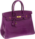 Luxury Accessories:Bags, Hermes Extremely Rare 35cm Shiny Violet Porosus Crocodile Birkin Bag with Gold Hardware. ...
