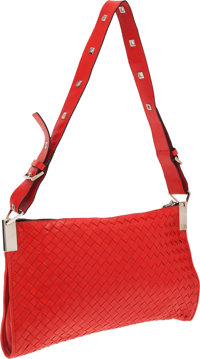 Bottega Veneta Red Intrecciato Leather Messenger Bag