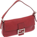 Luxury Accessories:Bags, Fendi Red Selleria Leather Classic Baguette Bag. ...