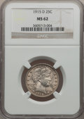 Barber Quarters: , 1915-D 25C MS62 NGC. NGC Census: (59/365). PCGS Population(78/502). Mintage: 3,694,000. Numismedia Wsl. Price for problem ...