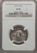 Standing Liberty Quarters: , 1919-S 25C VF30 NGC. NGC Census: (18/290). PCGS Population(31/454). Mintage: 1,836,000. Numismedia Wsl. Price for problem ...