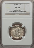 Standing Liberty Quarters: , 1918-D 25C AU55 NGC. NGC Census: (23/313). PCGS Population(62/473). Mintage: 7,380,000. Numismedia Wsl. Price for problem ...