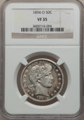 Barber Half Dollars: , 1894-O 50C VF35 NGC. NGC Census: (3/128). PCGS Population (8/189).Mintage: 2,138,000. Numismedia Wsl. Price for problem fr...
