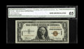 Small Size:World War II Emergency Notes, Fr. 2300 $1 1935A Hawaii Silver Certificate. CGA Gem Uncirculated 65.. This well margined example from the C-C block carries...