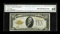 Small Size:Gold Certificates, Fr. 2400* $10 1928 Gold Certificate. CGA Gem Uncirculated 65.. The surfaces certainly possess deep embossing and rich color....