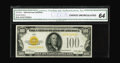 Small Size:Gold Certificates, Fr. 2405 $100 1928 Gold Certificate. CGA Choice Uncirculated 64.. A very scarce note in this grade, as few truly uncirculate...