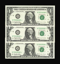 Error Notes:Blank Reverse (100%), Fr. 1921-D $1 1995 Federal Reserve Notes. Three Consecutive Examples Gem Crisp Uncirculated.. This is the first time we have... (Total: 3 notes)