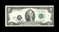 Error Notes:Shifted Third Printing, Fr. 1935-E $2 1976 Federal Reserve Note. Choice About Uncirculated.. This Deuce has a downward skew of the black portion of ...
