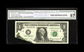 Error Notes:Foldovers, Fr. 1924-C $1 1999 Federal Reserve Note. CGA Gem Uncirculated 67..This neat error happened prior to the second print, and o...