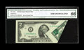 Error Notes:Foldovers, Fr. 1935-L $2 1976 Federal Reserve Note. CGA Gem Uncirculated 66..This eye catching error is very elusive on the $2 series....