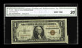 Error Notes:Attached Tabs, Fr. 2300 $1 1935A Hawaii Silver Certificate. CGA Very Fine 20.. AllHawaii errors are quite elusive. This cut and fold error...