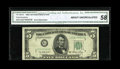 Error Notes:Obstruction Errors, Fr. 1962-G $5 1950A Federal Reserve Note. CGA About Uncirculated 58.. This obstruction affected almost 40% of the back print...