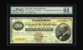 Large Size:Gold Certificates, Fr. 1175a $20 1882 Gold Certificate PMG Choice Uncirculated 64 EPQ.This beautiful triple-signature Gold Certificate bears t...