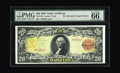 Large Size:Gold Certificates, Fr. 1180 $20 1905 Gold Certificate PMG Gem Uncirculated 66 EPQ.This Technicolor Twenty has glowing colors, huge margins an...