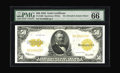 Large Size:Gold Certificates, Fr. 1200 $50 1922 Gold Certificate PMG Gem Uncirculated 66 EPQ. Through the holder, we cannot discern any detail that would ...