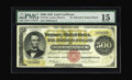 Large Size:Gold Certificates, Fr. 1216 $500 1882 Gold Certificate PMG Fine 15. A solid Fine example of an 1882 Five Hundred Dollar Gold, plated in the Dau...