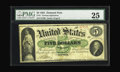 Large Size:Demand Notes, Fr. 1 $5 1861 Demand Note PMG Very Fine 25. Beautifully marginedfor a Demand Note, without problems or repairs of any kind ...