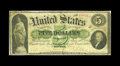 Large Size:Demand Notes, Fr. 1 $5 1861 Demand Note Very Good. The green ink remains dark,while the note was mounted at one time with stamp hinges. A...