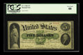 Large Size:Demand Notes, Fr. 1 $5 1861 Demand Note PCGS Very Good 08. This example off NewYork has solid edges on all sides. A few pinholes can be s...
