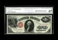 Large Size:Legal Tender Notes, Fr. 37a $1 1917 Legal Tender CGA Gem Uncirculated 67. A very rarenote with the Elliott and Burke signatures reversed. A pri...